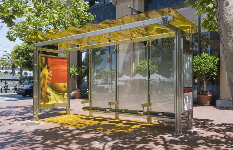 Steel Bus Shelters : Jetson green colorful wavy solar transit shelters