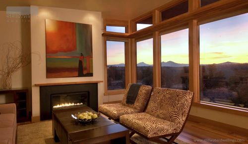 Stillwater Dwellings living room mountains sunset