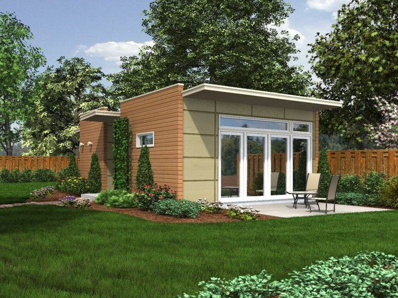 Jetson green backyard box intros line of modern for Adu house plans