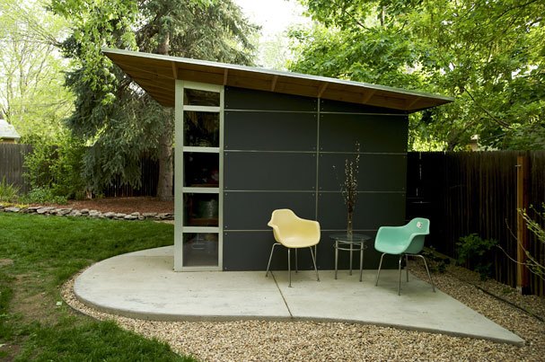Jetson green modern green affordable studio shed for Modern garden shed designs
