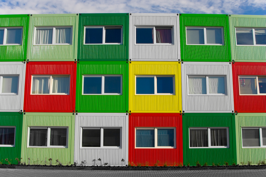 Colorful containers transformed to student housing