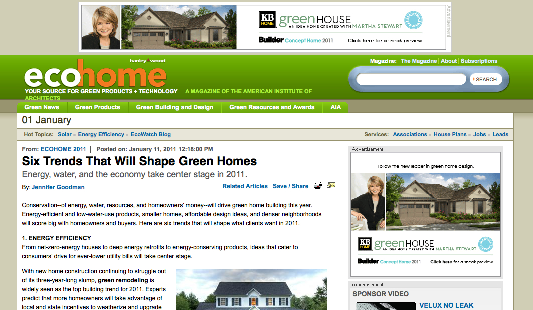 EcoHome Trends Article 2011