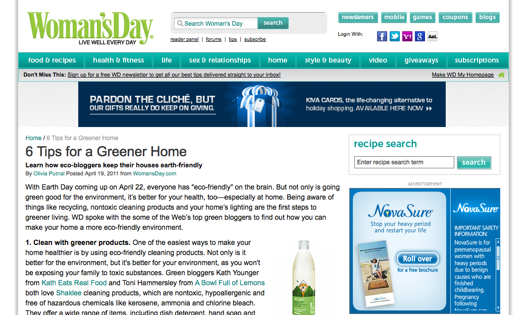 Six Tips Greener Home - Woman's Day