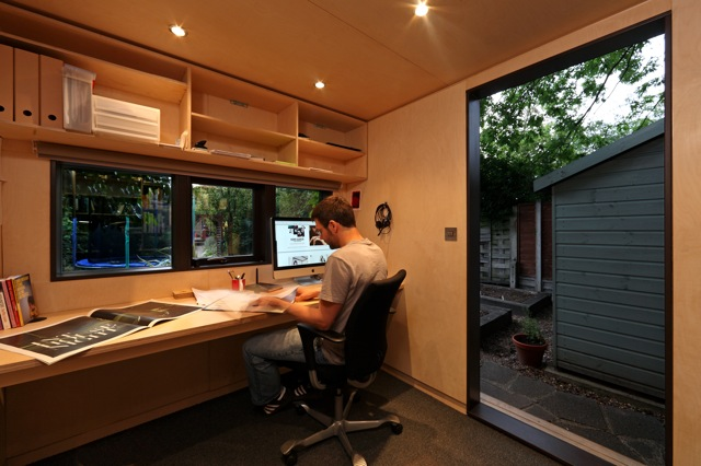 Jetson green backyard work studio for a designer for Building a home office in backyard