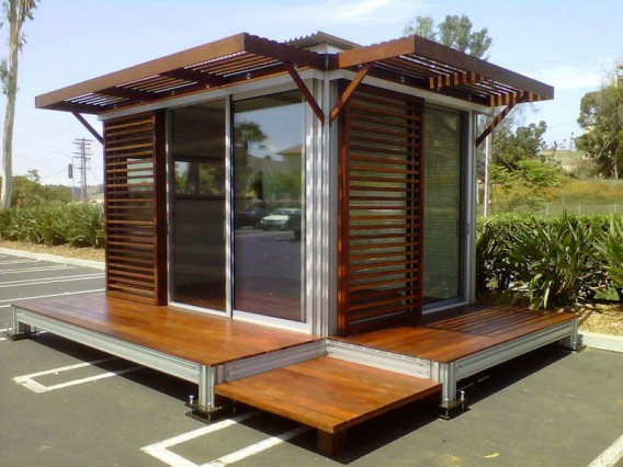 Jetson green tiny prefab utilized as a flex office for Casetas jardin segunda mano