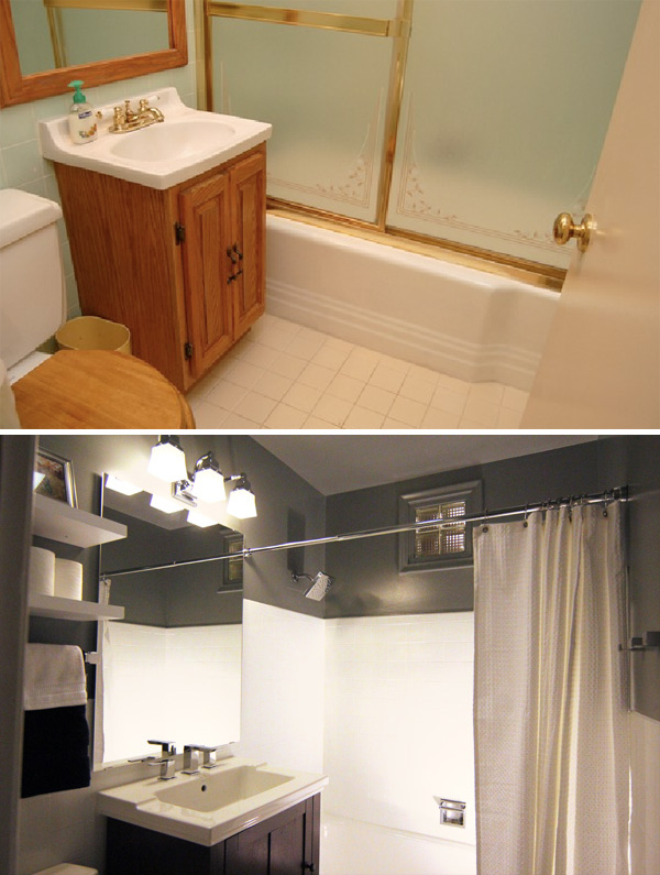 Jetson green bath rehab with new watersense products - Before and after small bathroom remodels ...