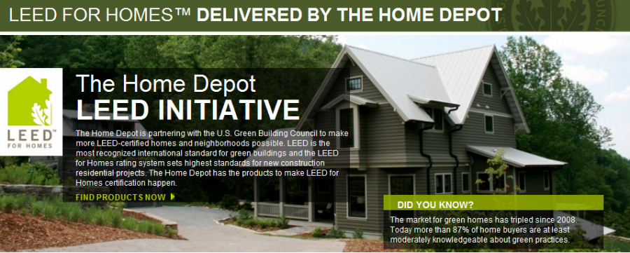 The home depot and usgbc launch new database of green for Leed for homes provider