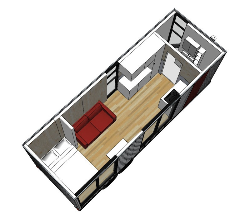 Jetson green clearspace keeps prefab simple in austin for Tiny house trailer floor plans
