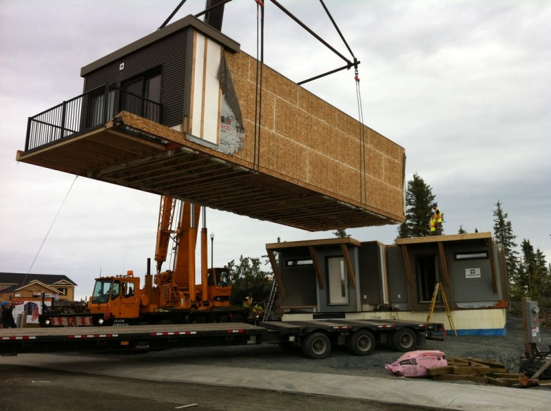 Jetson green efficient modular duplex in yellowknife for Prefab duplex homes