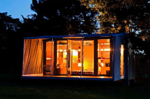 Port a Bach portable container home Night