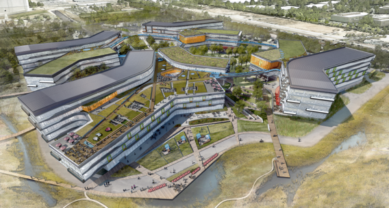 Architectural rendering of new Google headquarters