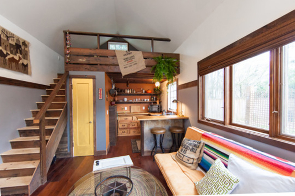 Jetson Green Hand Built Rustic Modern Tiny House Available for Rent