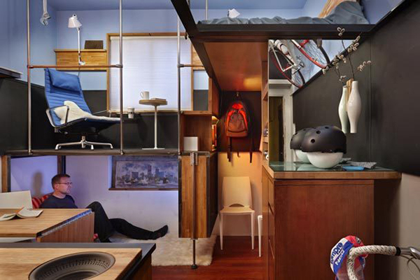 jetson green micro apartment transformed into a. Black Bedroom Furniture Sets. Home Design Ideas
