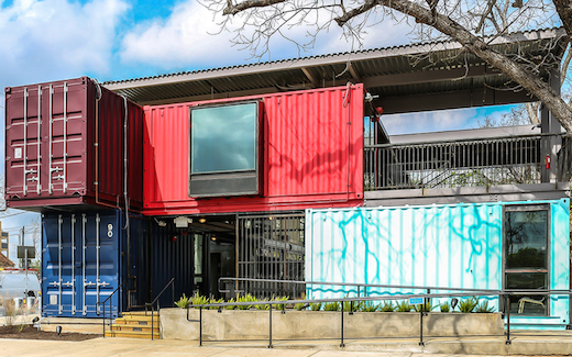 Jetson green a bar made of shipping containers opens in austin - Container homes austin ...
