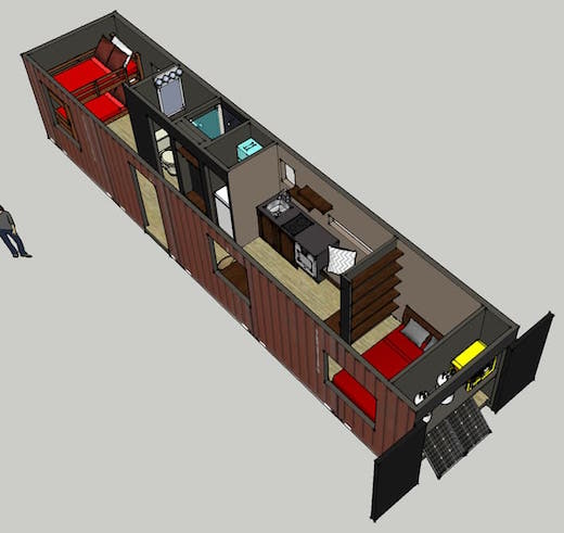 Jetson green shipping container recycled into a cozy home - 40ft shipping container home ...
