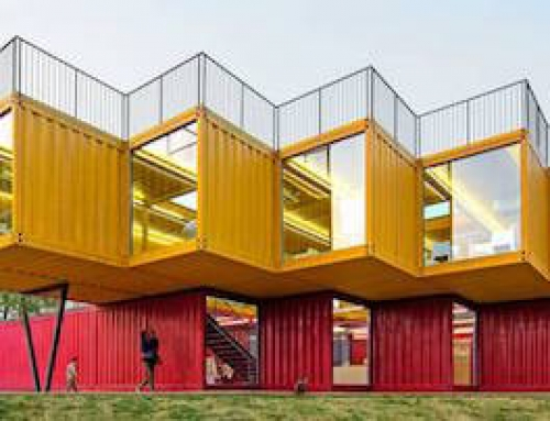 Pavilion Made of Stacked Shipping Containers
