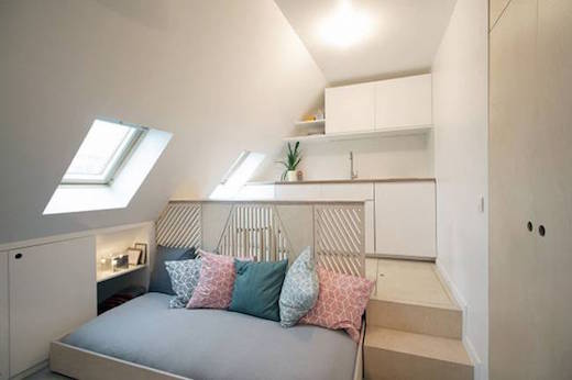 Jetson green small apartment made spacious by a clever - Location chambre de bonne paris 16 ...