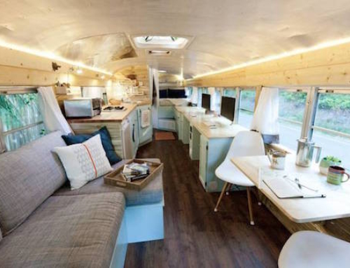 Bus Converted Into a Cozy Full-Time Mobile Home