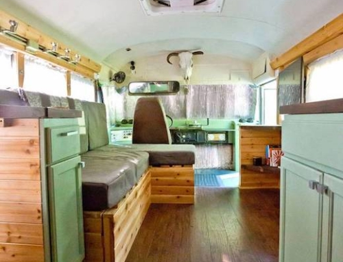 Couple converts school bus into their first home