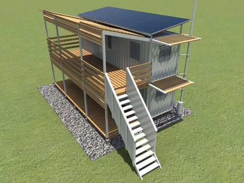 Container-housing-two-level-solar