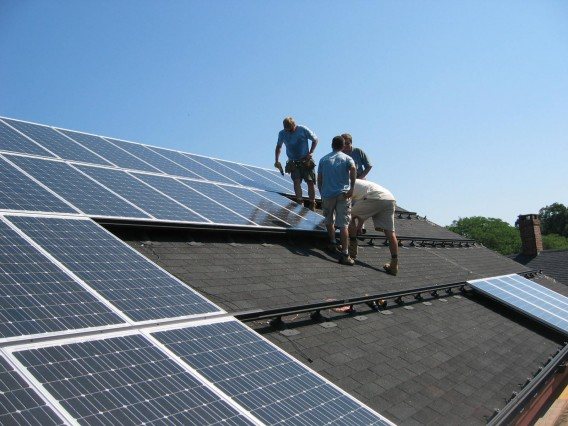 Solar panels being installed, Centerbrook photo