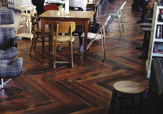 upcycled pallet wood floor