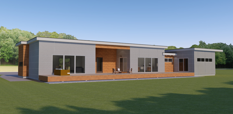 Jetson green contemporary prefab home for a writer for Modern design single storey homes