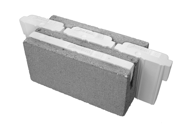 Jetson green omni block is an insulated concrete block for Block wall insulation exterior
