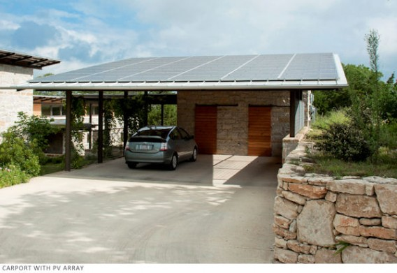 A 12-kW Sharp solar PV system is mounted on the carport roof.